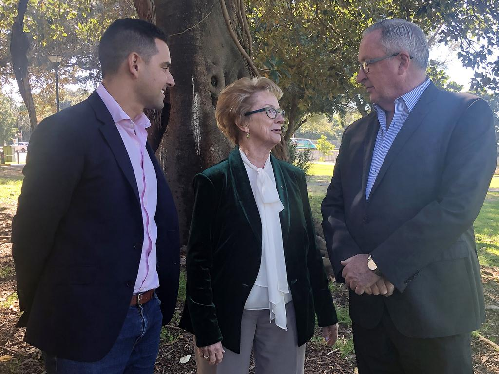 (L-R) Independent MP for Sydney Alex Greenwich, NSW Pro-choice Alliance Chair Wendy McCarthy and NSW Health Minister Brad Hazzard are all backing the bill. Picture: AAP