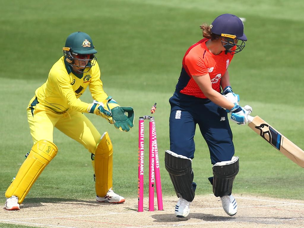 Natalie Sciver of England is bowled out by Georgia Wareham of Australia during the T20 in Hove. Picture: Getty