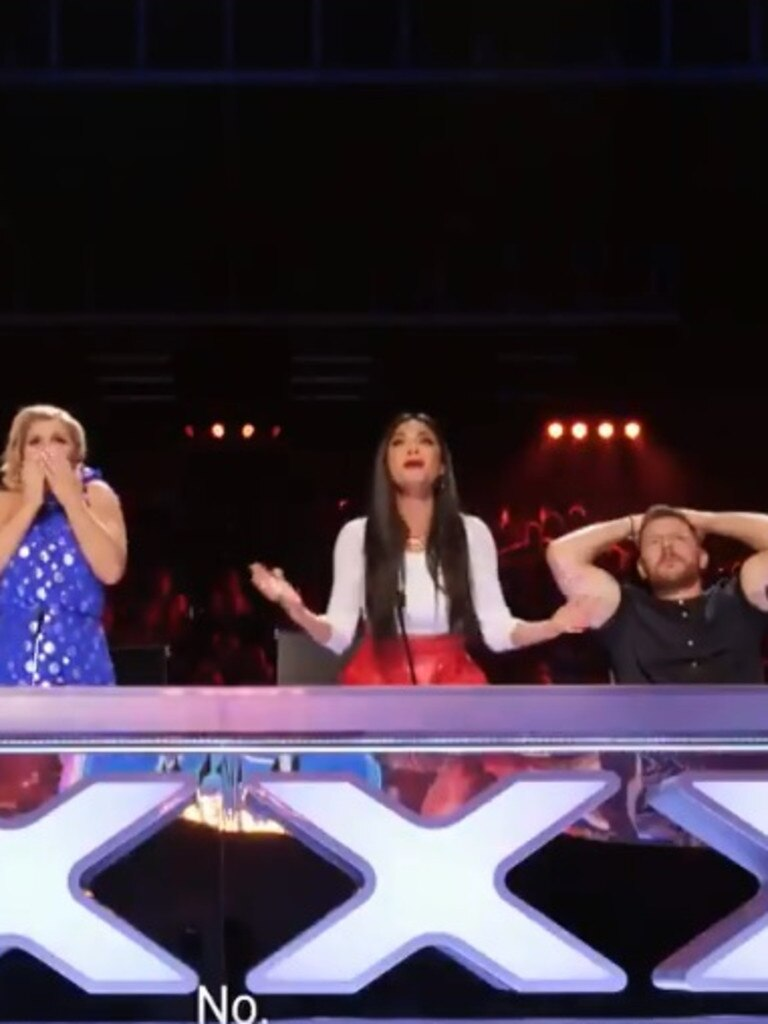 The judges screamed in horror as the stunt unfolded.