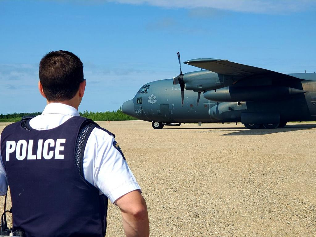 A Royal Canadian Air Force CC-130H Hercules has arrived in Gillam. Picture: RCMP Manitoba