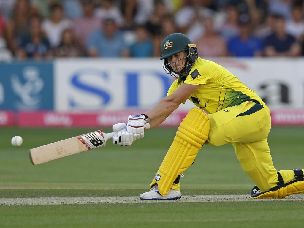 Meg Lanning strikes good form during the first game of the T20 series against England. Picture: Getty