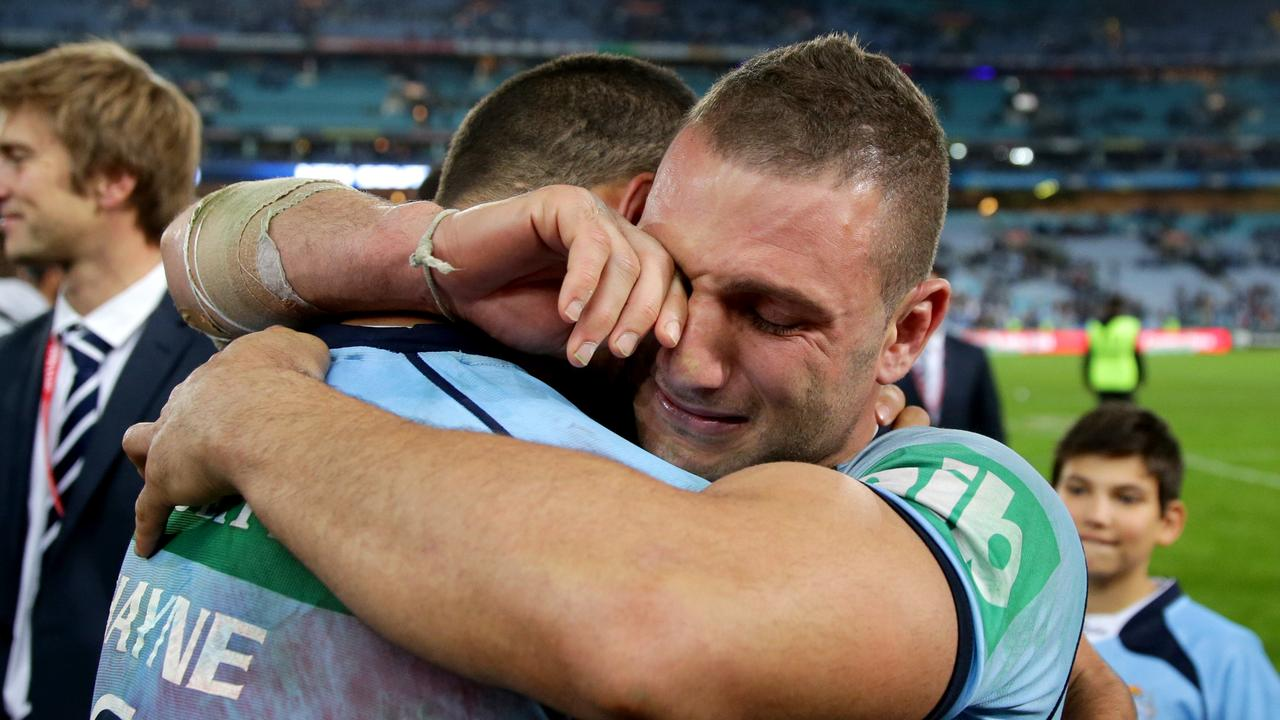 Robbie Farah celebrates winning the Origin shield in 2014. Picture: Gregg Porteous