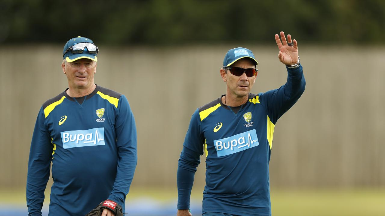 Justin Langer, coach of Australia, and Australian team mentor Steve Waugh talk during a training session at Southampton.