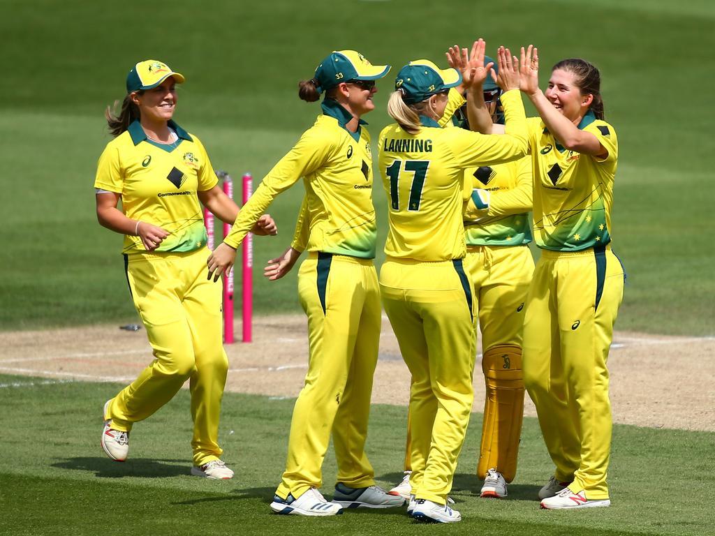 Georgia Wareham of Australia celebrates with her teammates. Picture: Getty