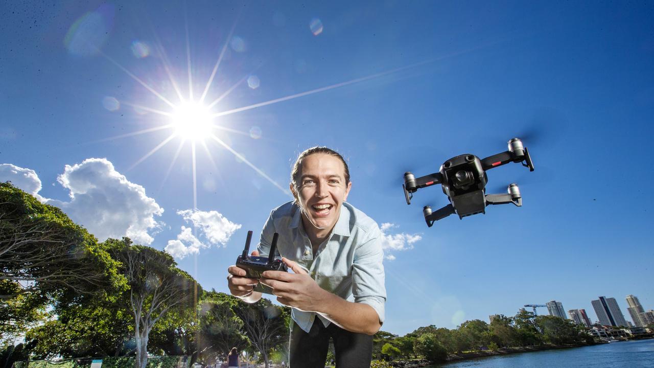 Drone pilot Kieran Convery, 31, of Brisbane. Picture: Nigel Hallett