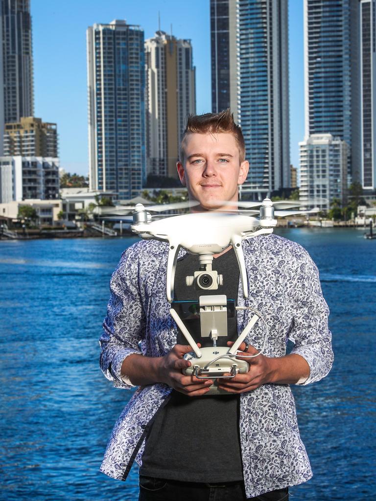 Drone pilot Jordan Murdock, 20, of the Gold Coast, is one of Queensland's 395 certified drone pilots. Picture: Nigel Hallett