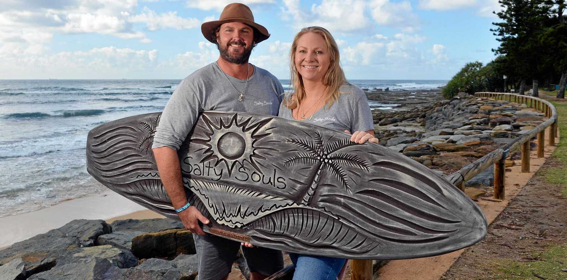 IN HONOUR: Michael Kennedy and Tamara Smith decided to carry on their brother Tyler Kennedy's vision with Salty Souls Legacy after he died in a tragic accident in Bali.