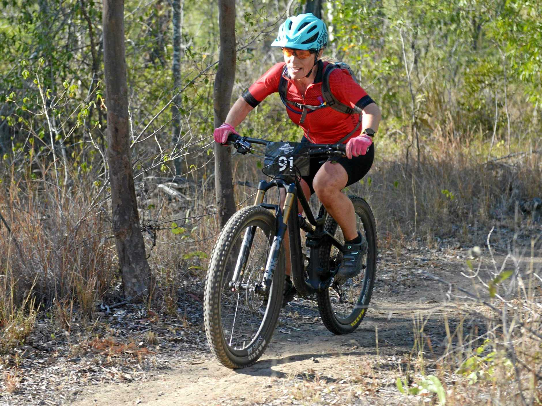 POWERING ON: Kristin Edwards races into first place in the open women's division in round three of the CQ Cross Country Series at Seeonee Park on Sunday.
