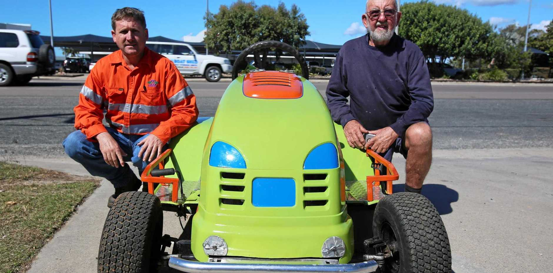 GREEN MACHINE: Alex Finn and Michael Hicks hope that their racing ride-on inspires others in the region.