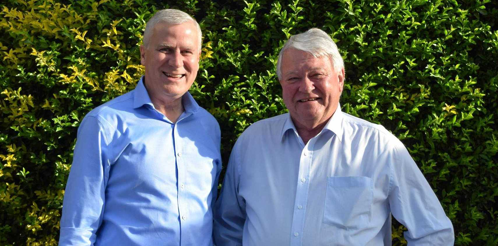 Acting Prime Minister Michael McCormack and Member for Flynn Ken O'Dowd.