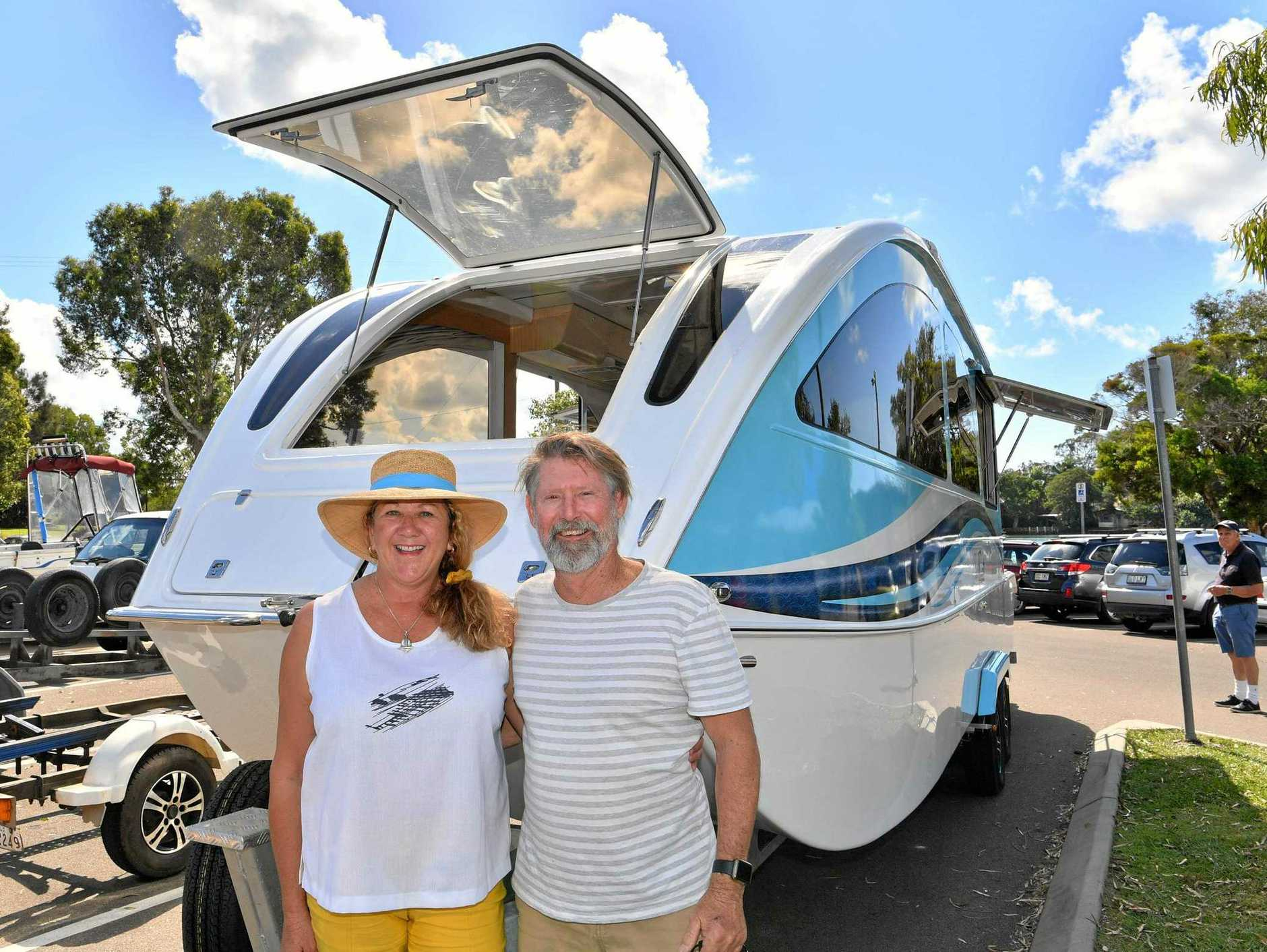 UNIQUE: CaraBoat is a caravan which doubles as a boat. Linda and Bruce Mackenzie are turning heads.