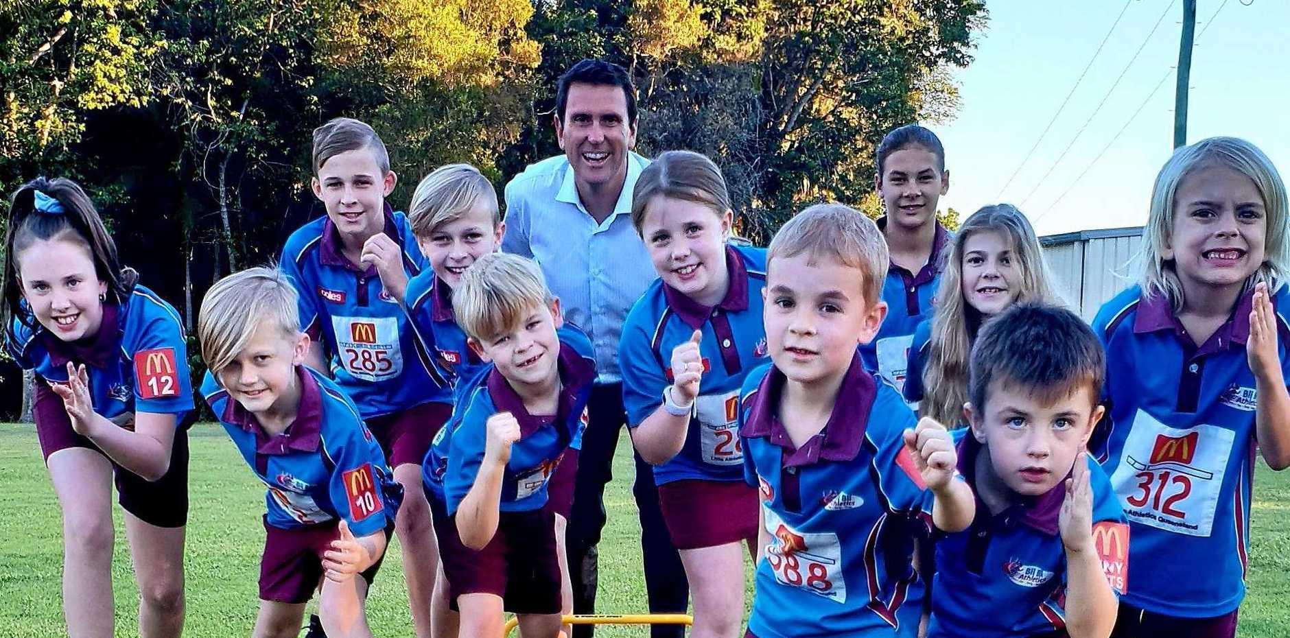 Ninderry MP Dan Purdie and members of Bli Bli Little Athletics.
