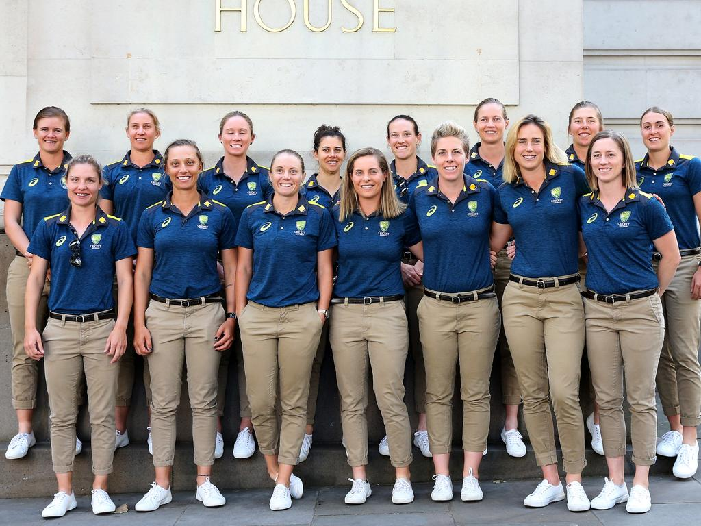 Australian Women's cricket team outside Australia House in London, England. The team retained their Ashes trophy. Picture: Hollie Adams/News Corp Australia