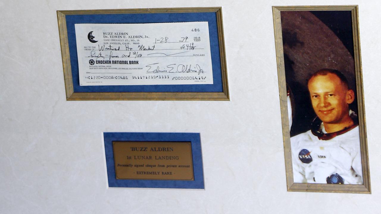 Buzz Aldrin's cheque. Picture: Tertius Pickard
