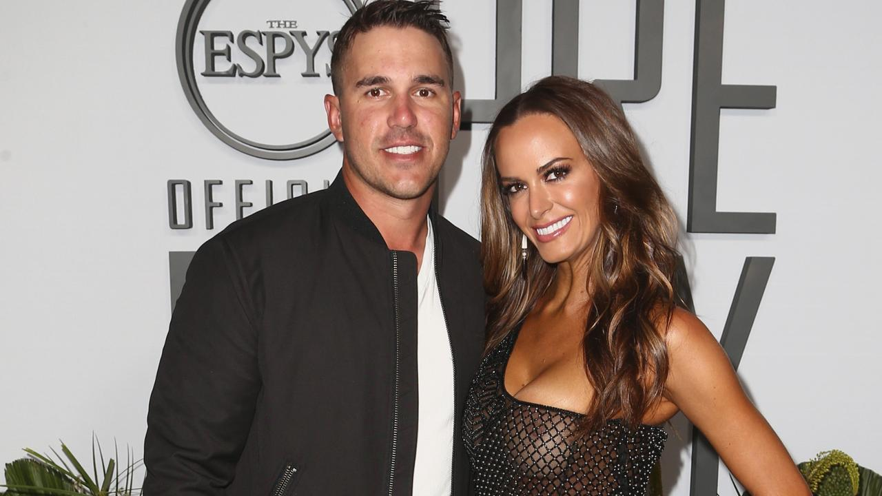 Brooks Koepka and Jena Sims. (Photo by Tommaso Boddi/Getty Images)
