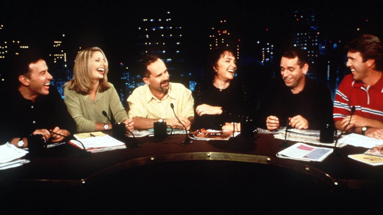 Santo Cilauro, Andrea Salmon, Tom Gleisner, Kate Langbroek, Rob Sitch and Glenn Robbins on The Panel.