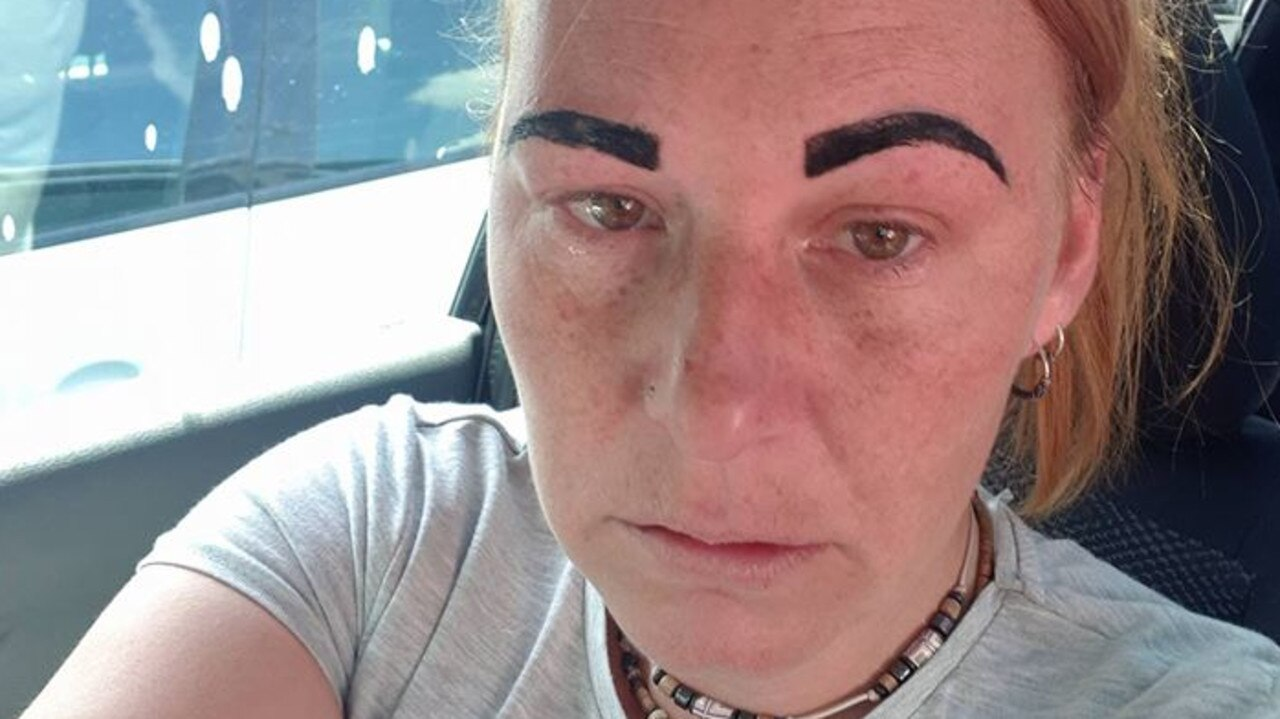 Colline was left with Angry Bird eyebrows after a visit to her local beauty salon. Picture: Facebook