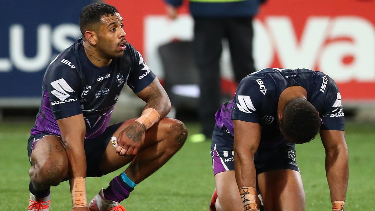 Josh Addo-Carr and Justin Olam digest the Storm's 89th minute golden point loss to Manly.