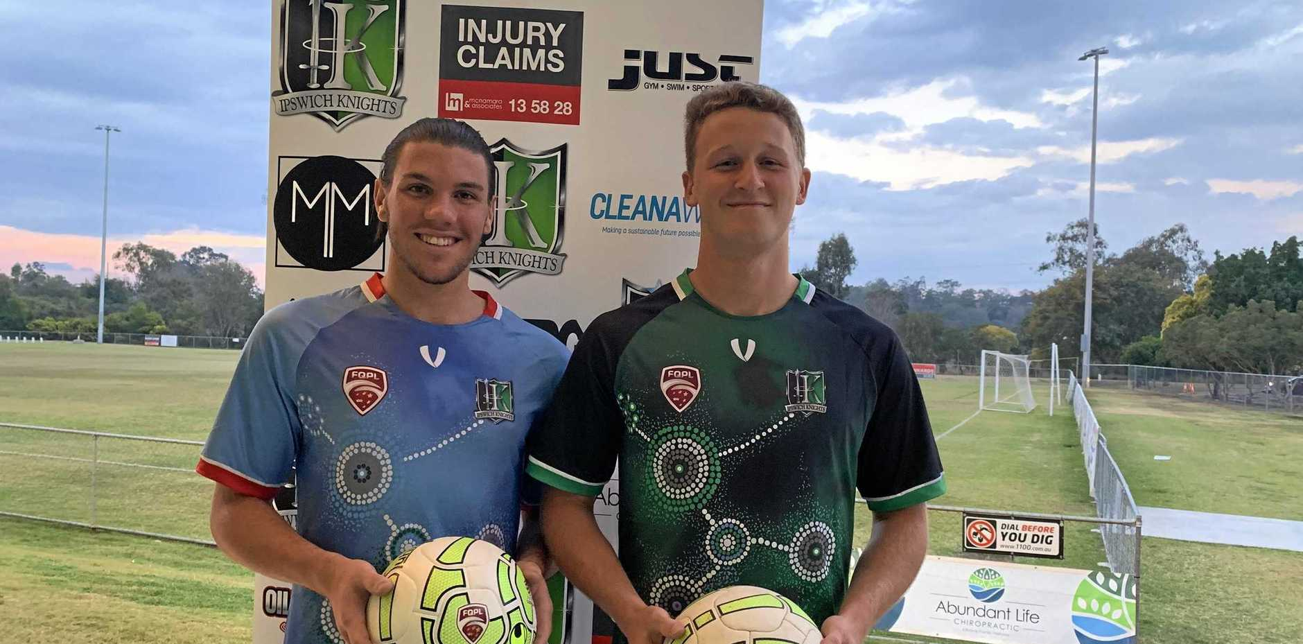 Ipswich Knights footballers Xavier Townsend (left) and Robbie Baker have been offered scholarships in the United States.