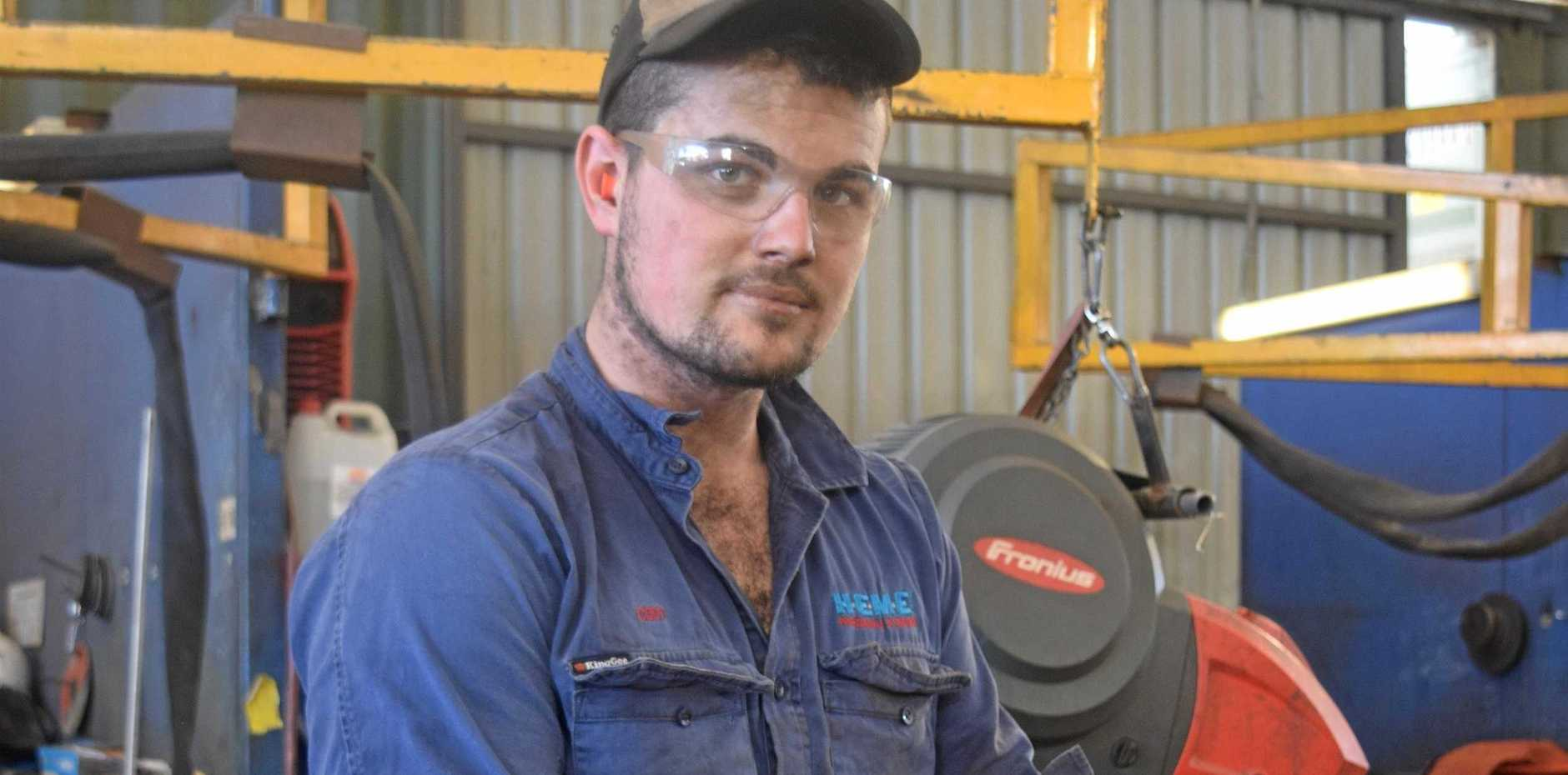 ENCOURAGING OTHERS: HEME boilermaker Cody Holzwart encourages other tradies to look after their health.