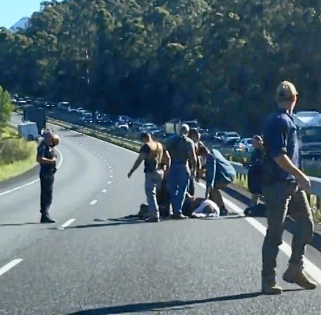The massive police chase ended in a dramatic shooting on the Bruce Highway on the Sunshine Coast.
