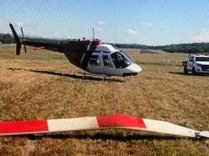 Rotor blade catapults into runway in chopper incident