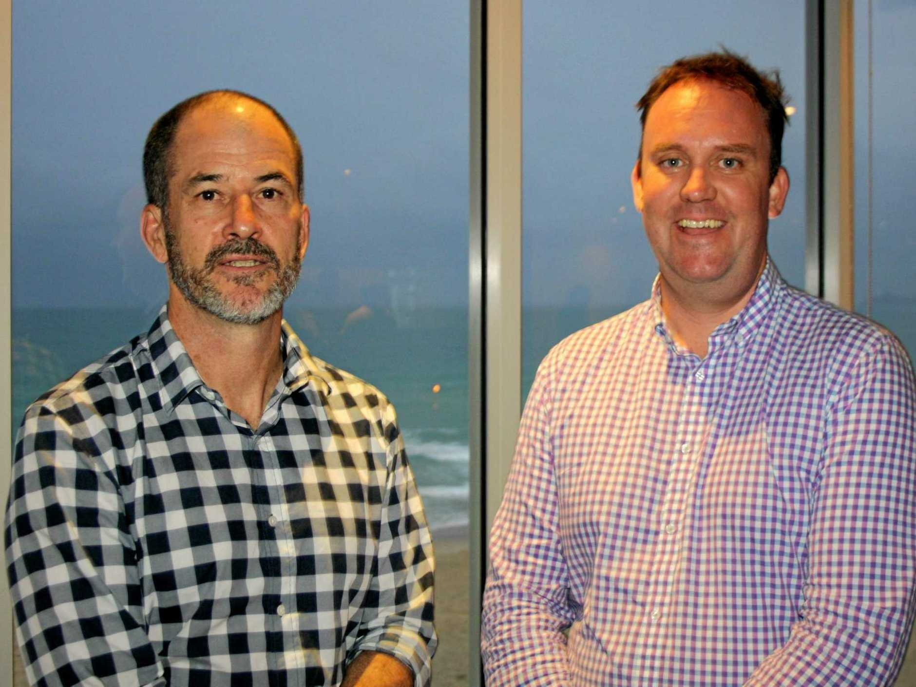 Master Builders (Qld) deputy executive director Paul Bidwell and Sunshine Coast regional manager Michael Hopkins at Maroochy Surf Club for the quarterly industry update.