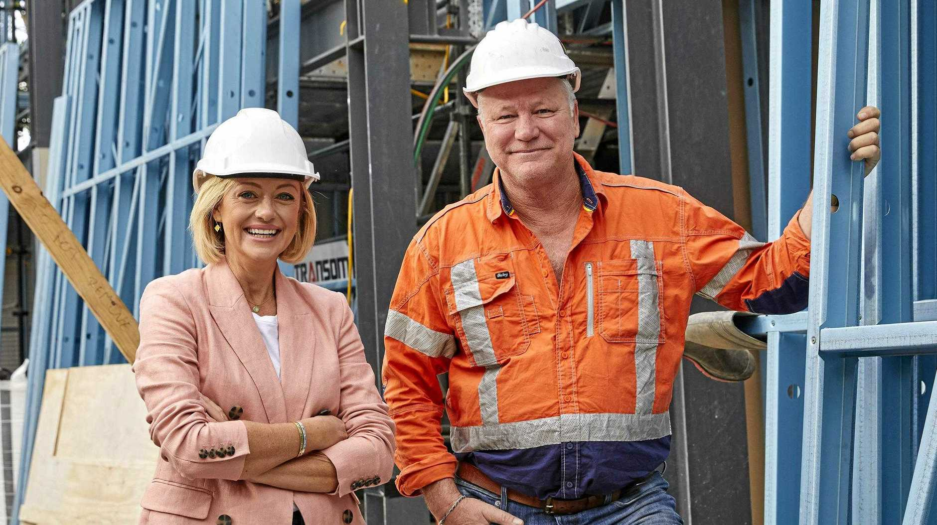 The Block hosts Shelley Craft and Scott Cam on the construction site at The Oslo.