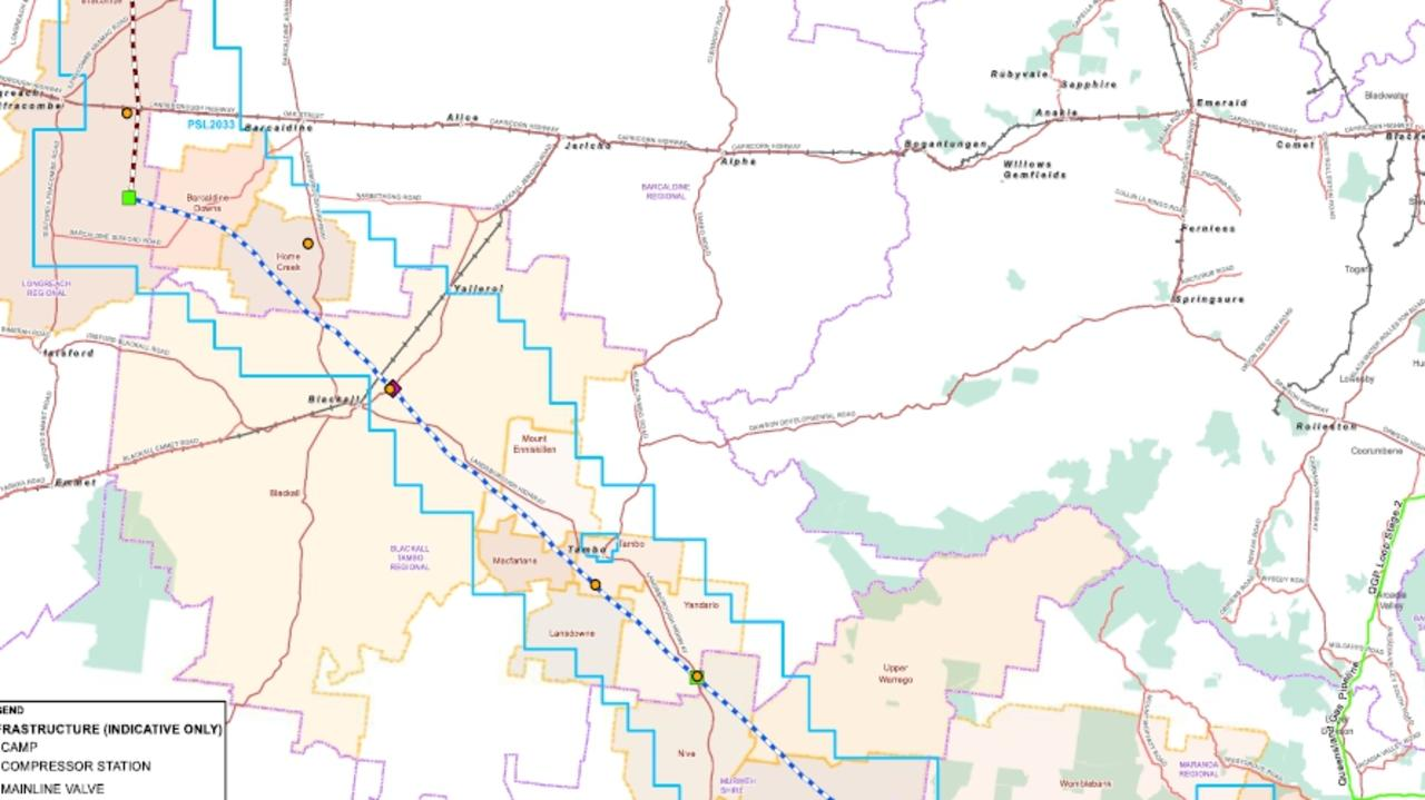 A map showing the route of Jemena's proposed Galilee Gas Pipeline to run from Galilee Energy Ltd's Glenaras Gas Project near Longreach to Jemena's Queensland Gas Pipeline near Injune in Queensland.