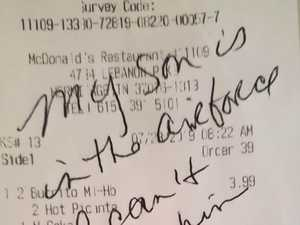 Stranger's touching note in Macca's meal