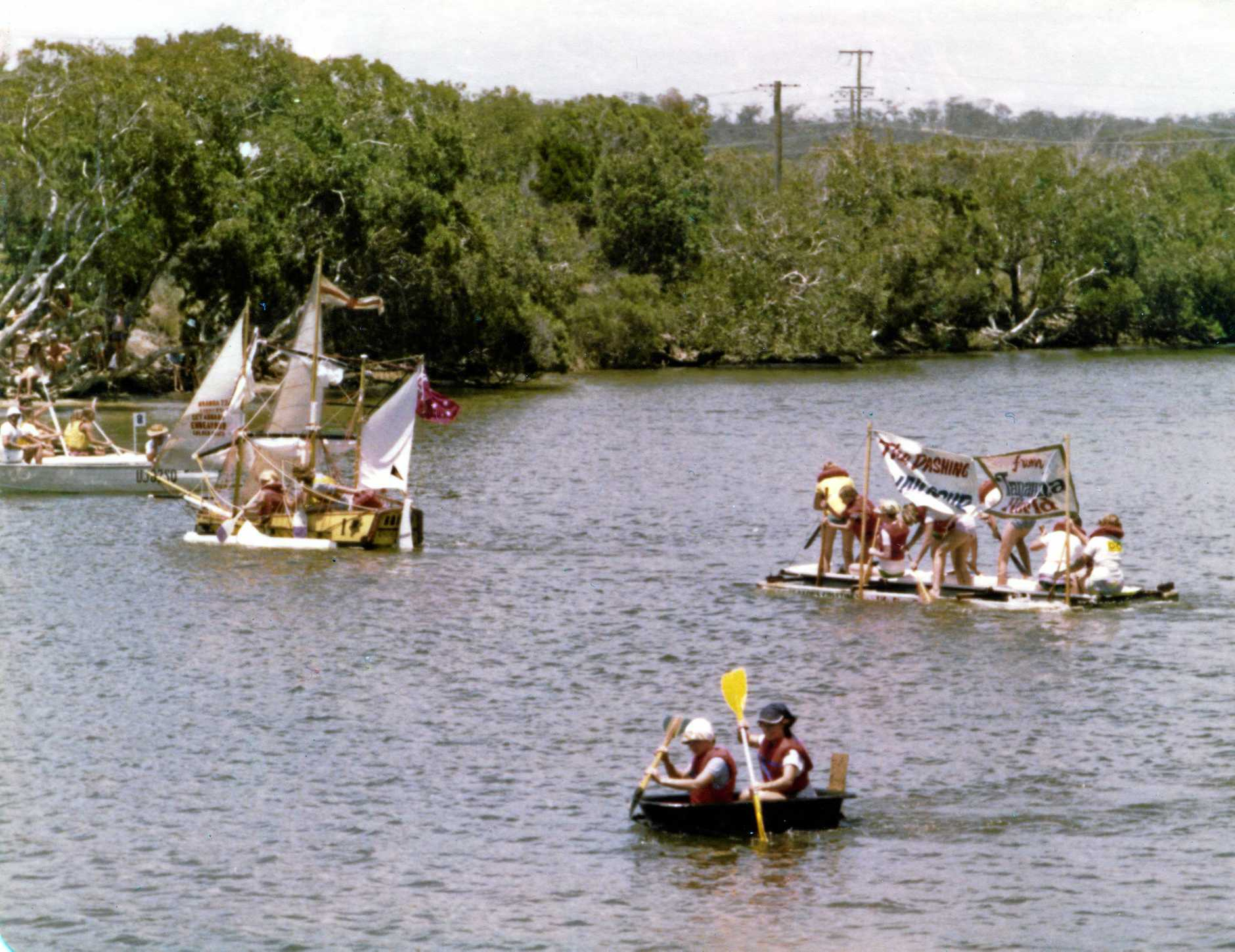 Boats competing in the annual Bath Tub Derby, Currimundi Lake, January, 1978.