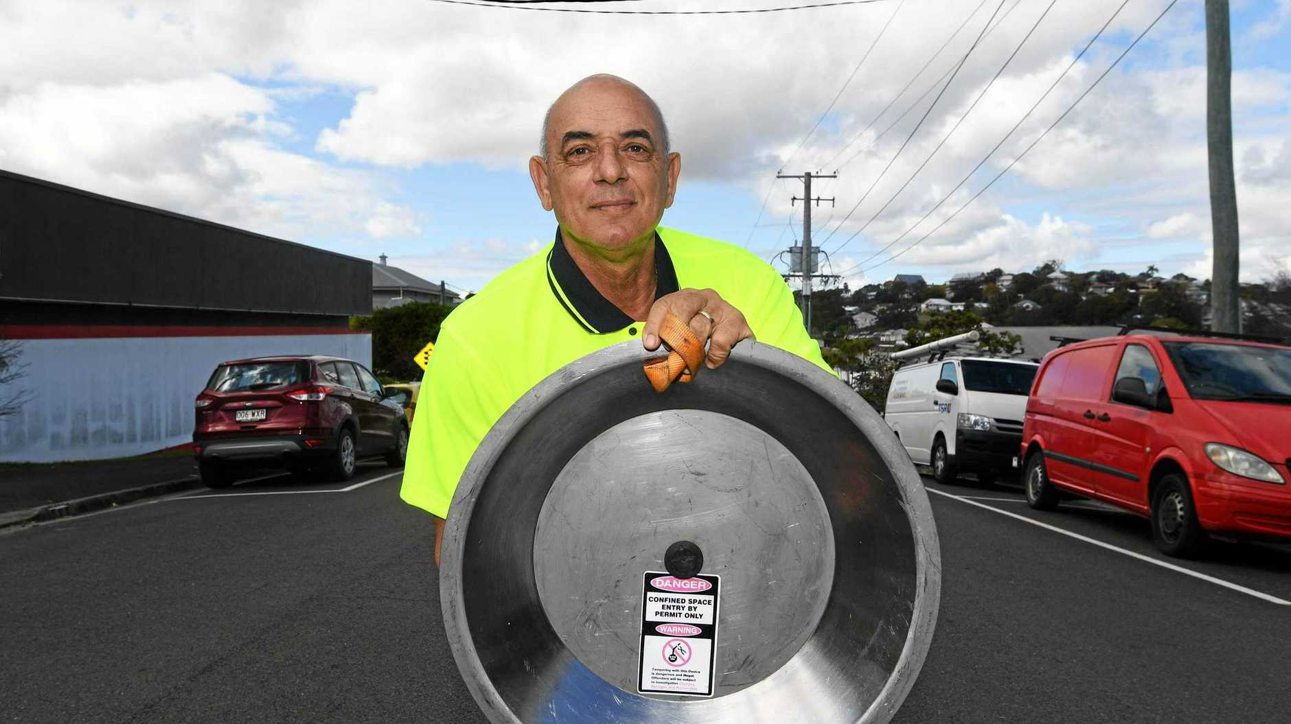 IDEA OVERFLOW: Gympie's William Bona is keeping Australia's floodwaters clean with his Rainstopper manhole insert.