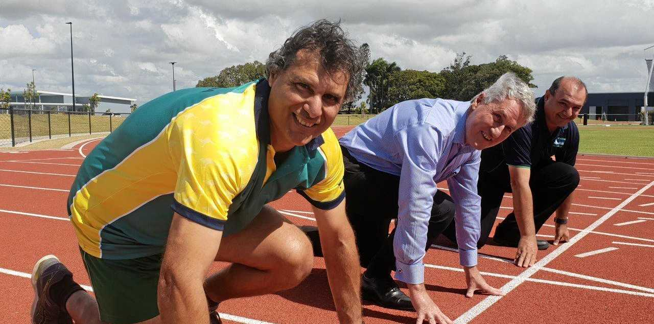 Mackay Masters athlete Kevin Galea, mayor Greg Williamson and joint-chair of the local organising committee James Grech.