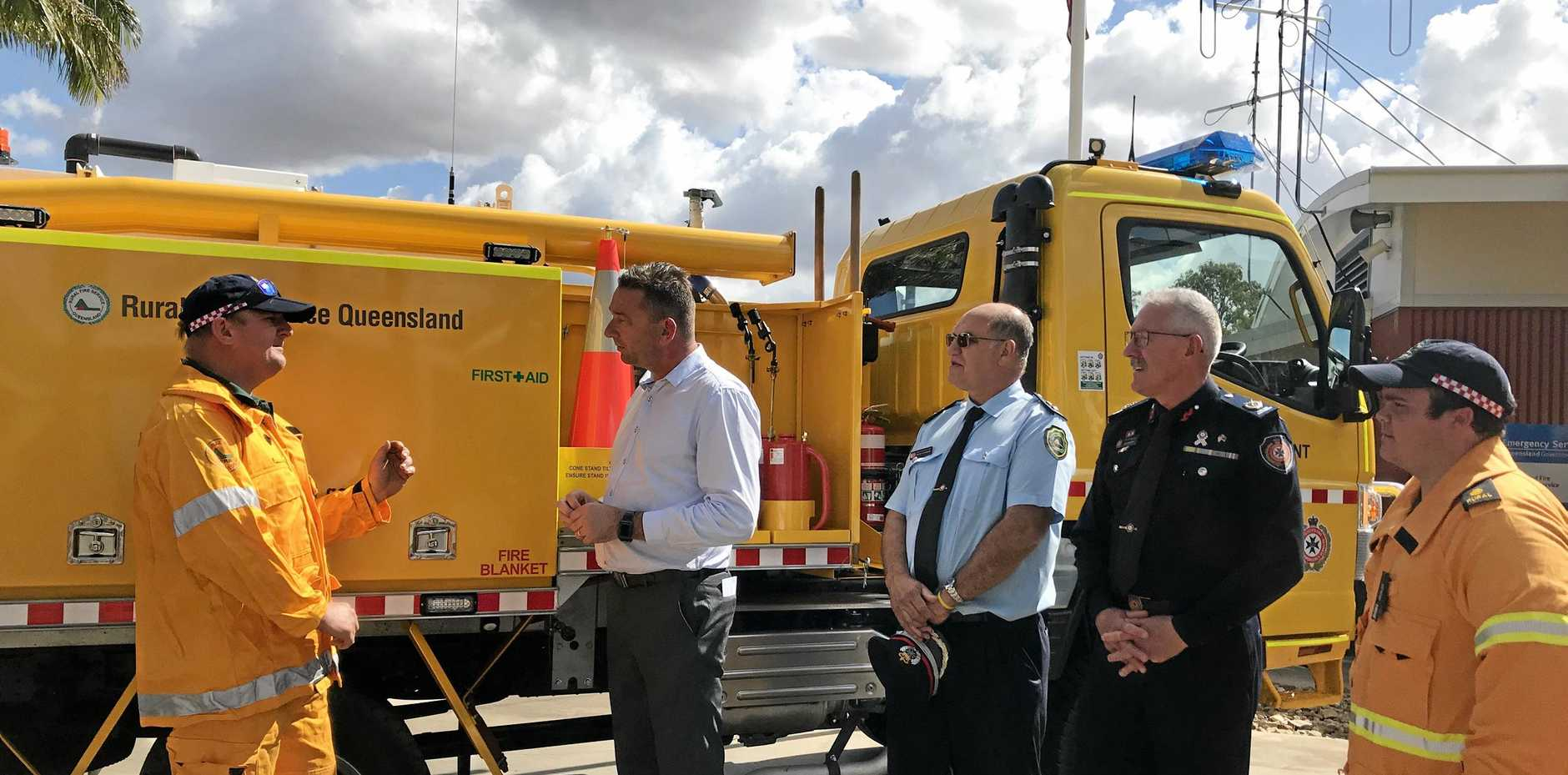 FIRE SEASON: Belmont Fire Brigade's Bradley Weisse discusses fire season with Fire and Emergency Services Minister Craig Crawford.