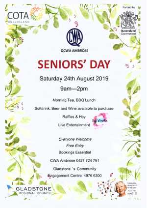 Seniors' Day, part of Seniors' Week Celebrations, hosted by QCWA Ambrose Branch. Doors open 9am. Bookings Essential