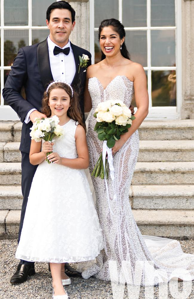 James Stewart and Sarah Roberts, with Stewart's daughter Scout, shared photos from their wedding in Ireland in July with Who magazine. Photo: The Fennells Photography and Video