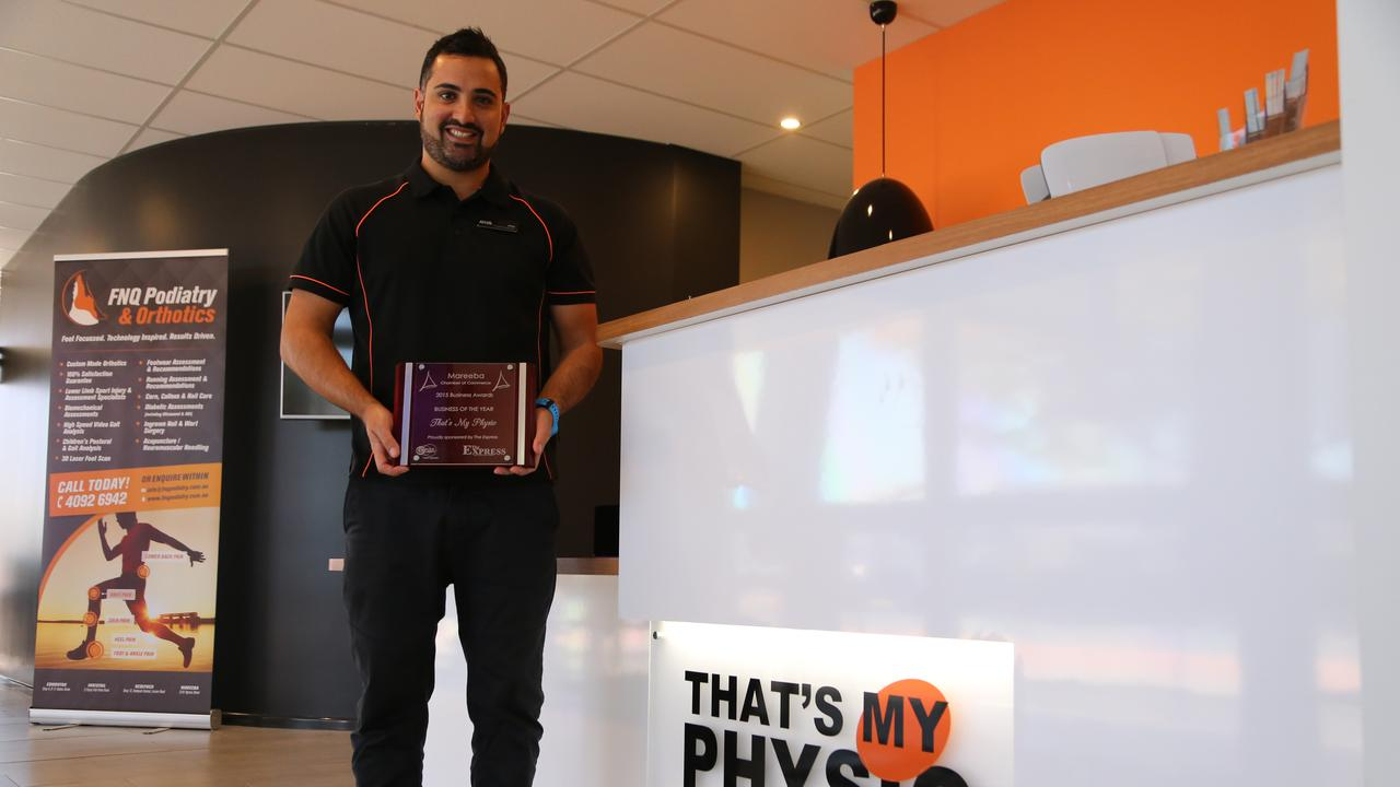 Joey Trotta with the 2015 Mareeba Chamber of Commerce Business of the Year honour that was awarded to That's My Physio. PHOTO: ANDREA FALVO