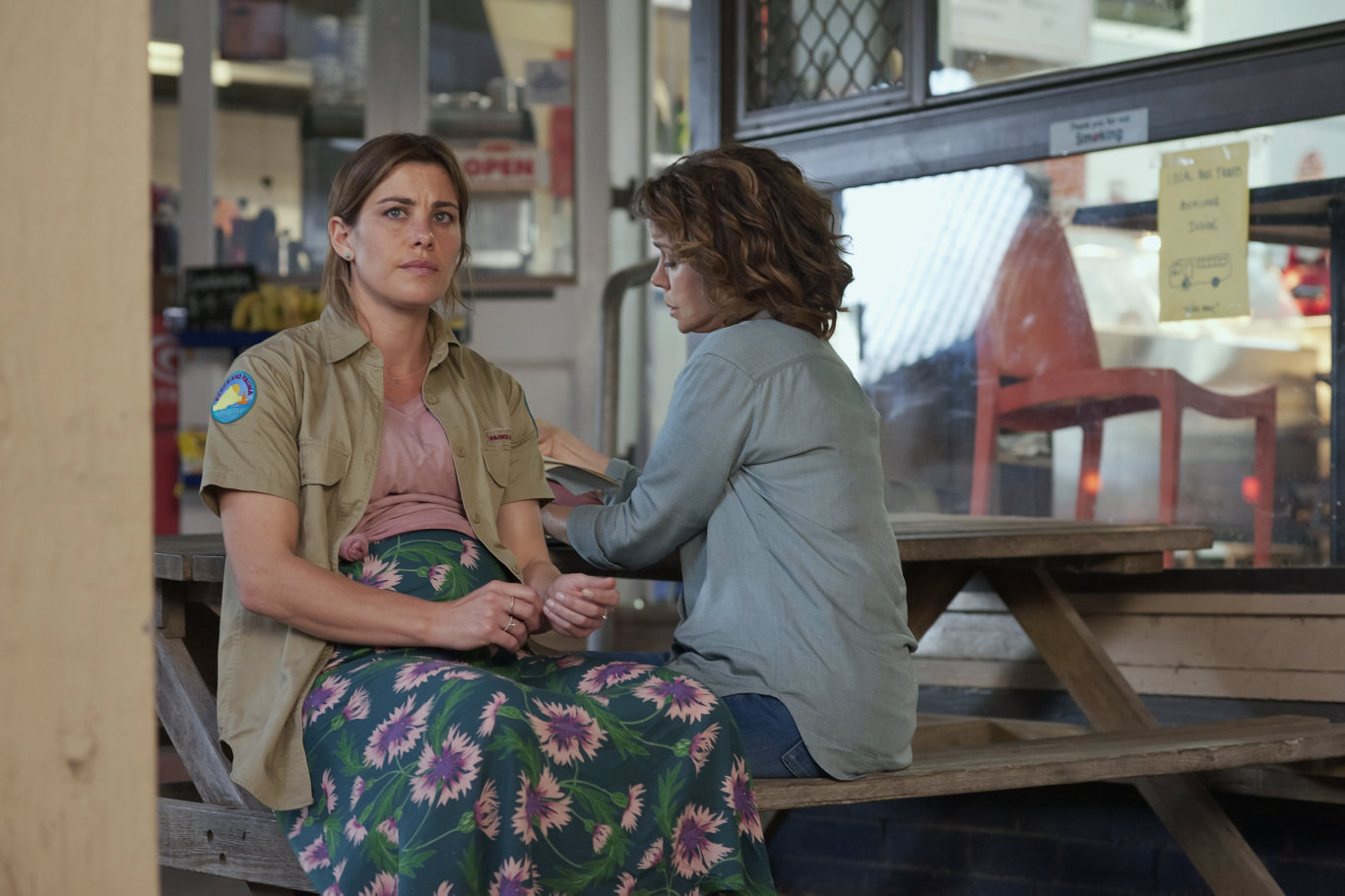 Brooke Satchwell and Sigrid Thornton in a scene from SeaChange.