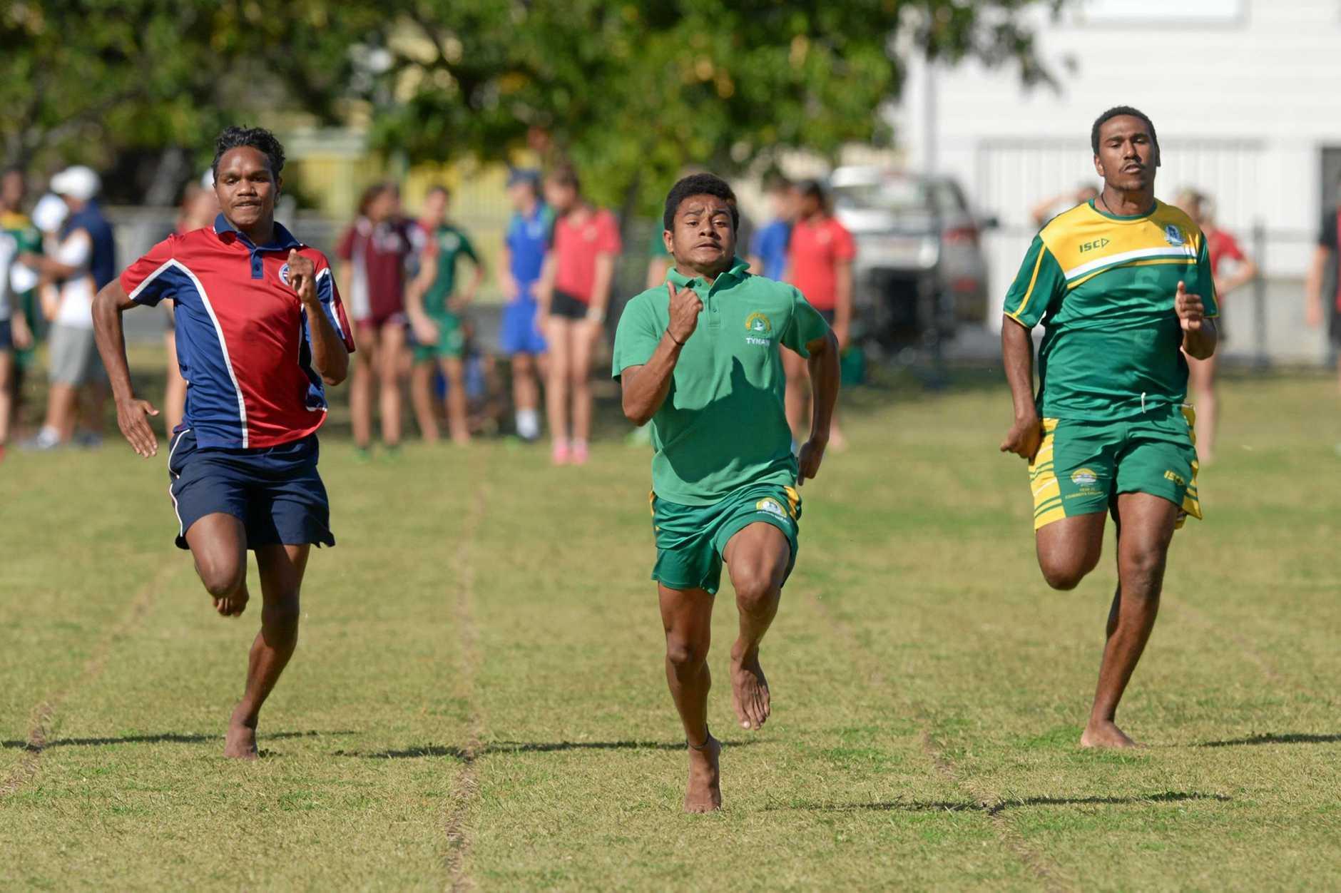 ATHLETICS: Cyron Tull, Marley Wosomo and Ian Akiba run the 16 boys 100m