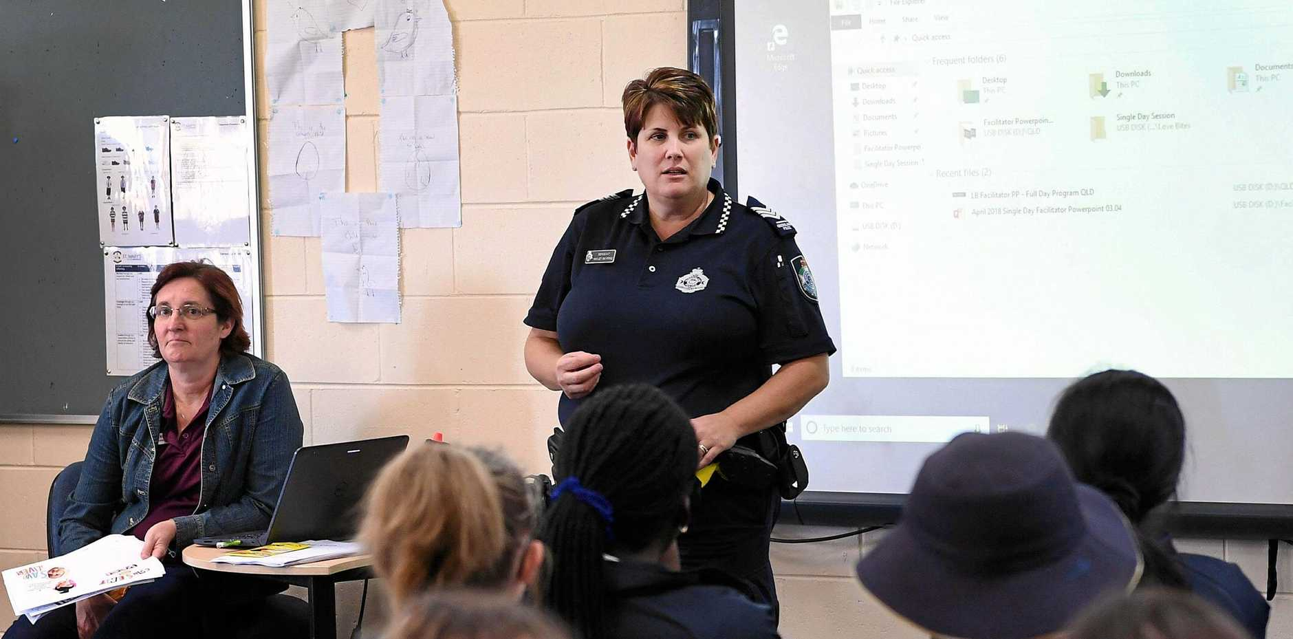 Domestic Violence awareness program - Maryborough Patrol Group police domestic violence liaison officer Sergeant Hayley Skyring talking to Year 10 students from St. Mary's College.