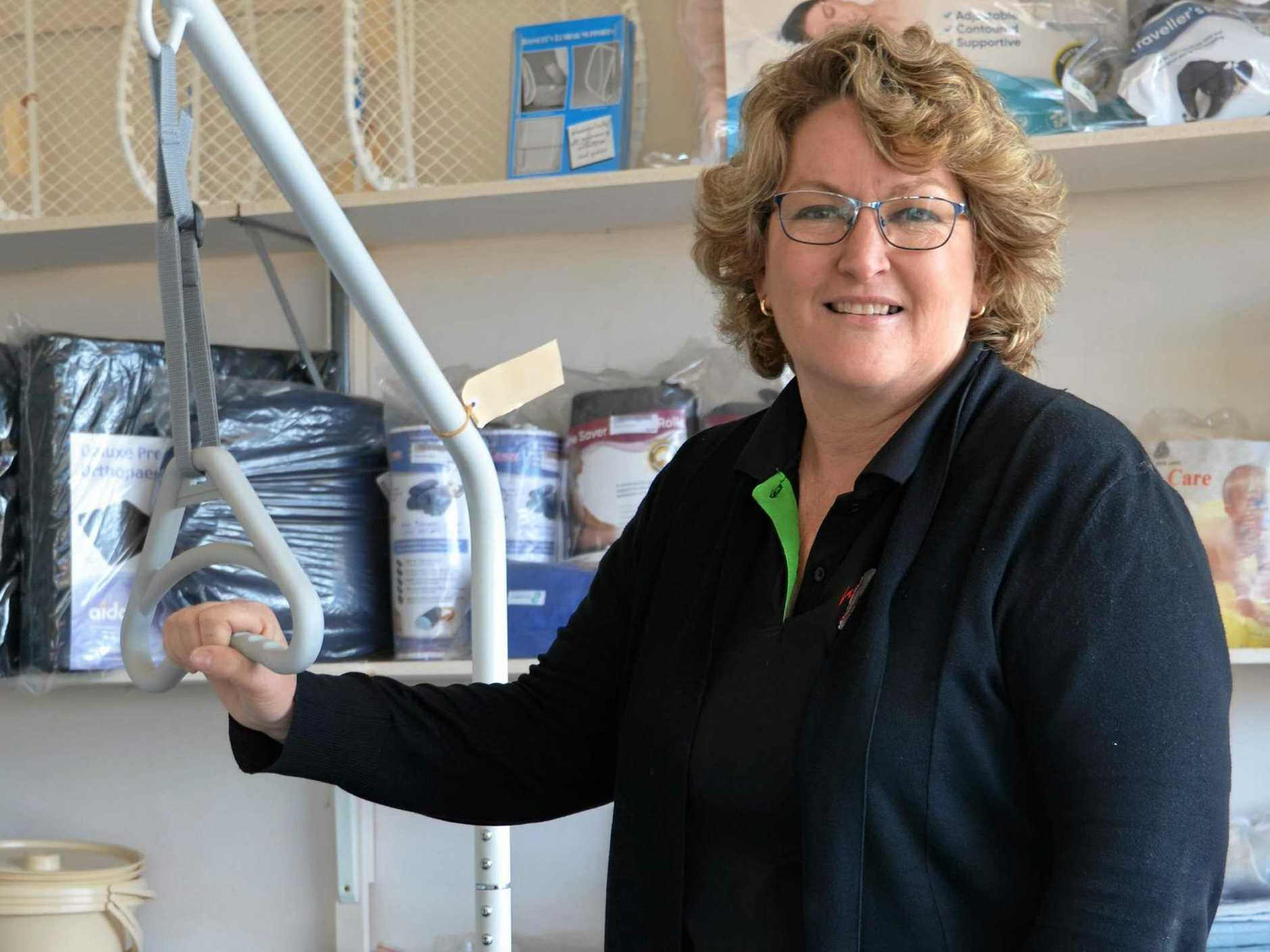 HELPING HAND: Annette Ivins from Kingaroy Home Aids and First Aid Training has a variety of support equipment in store.