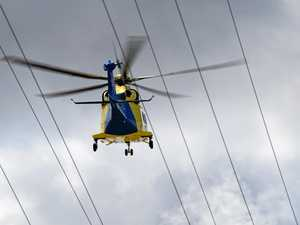 Motorcycle rider airlifted from crash with serious injuries