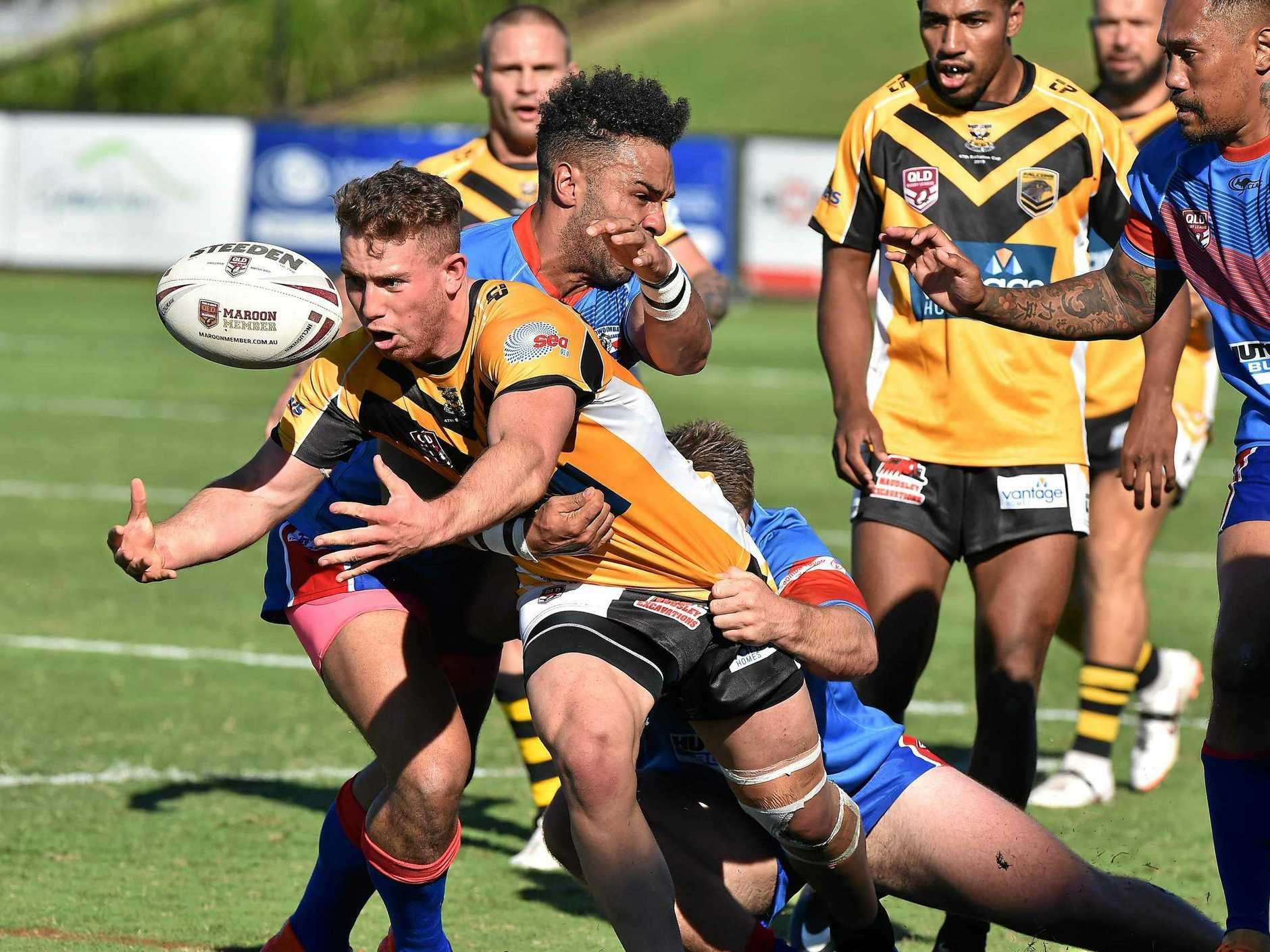 OFFLOADING: Caleb Daunt in action earlier this year during the 47th Battalion Carnival.