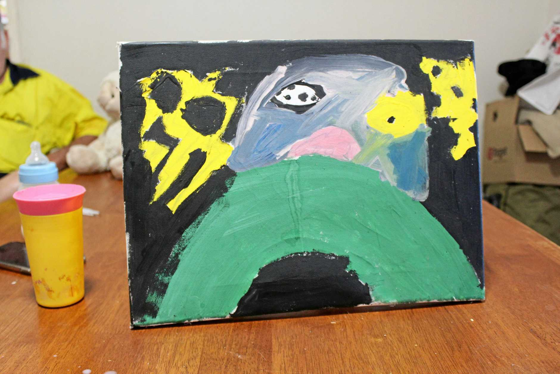 The painting Tyson made for his school assessment, which made his mother and father so proud.