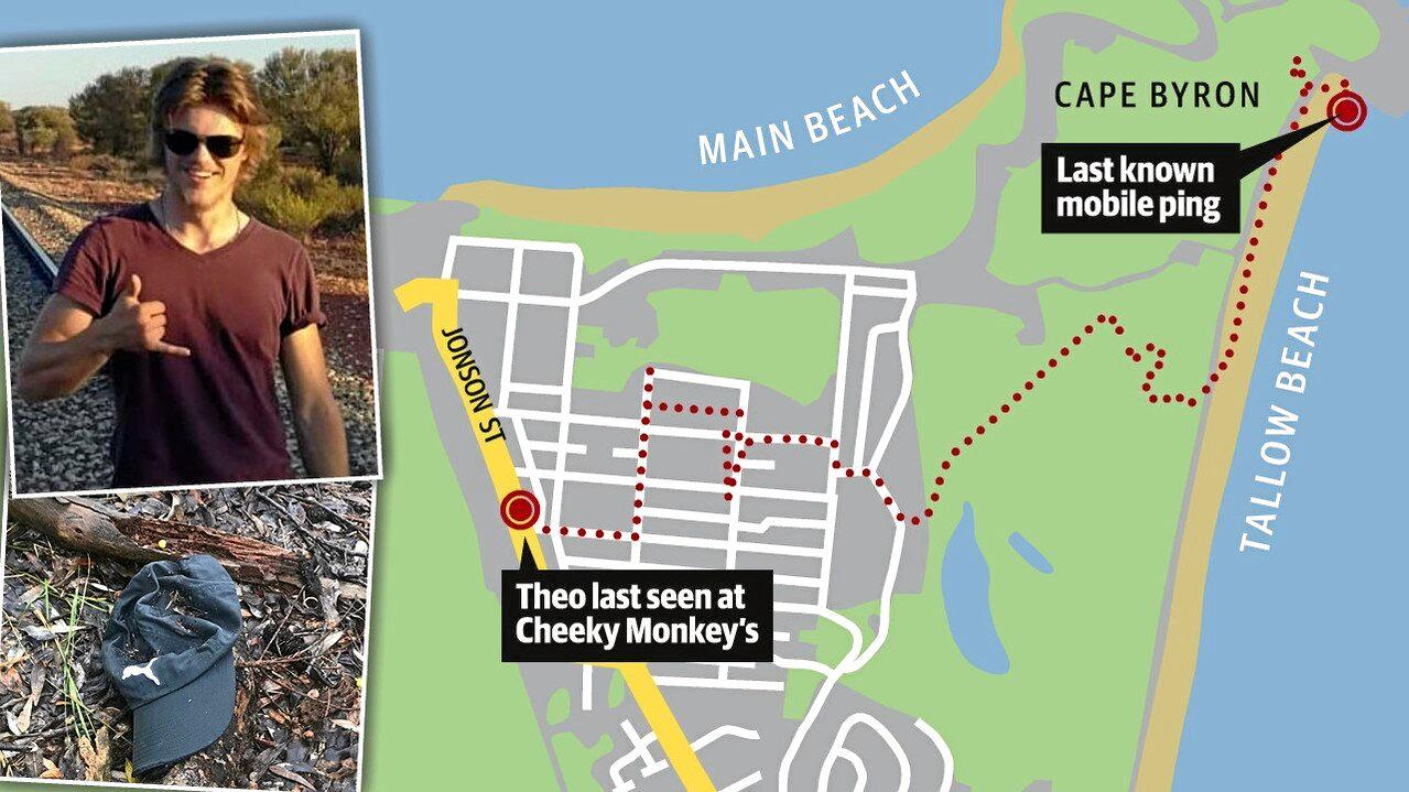 Theo Hayez's final phone records, obtained by News Corp, show the route he took from Cheeky Monkey's about 11pm until just after 1am the next morning when the last recorded signal came from a tower near Cape Byron lighthouse.