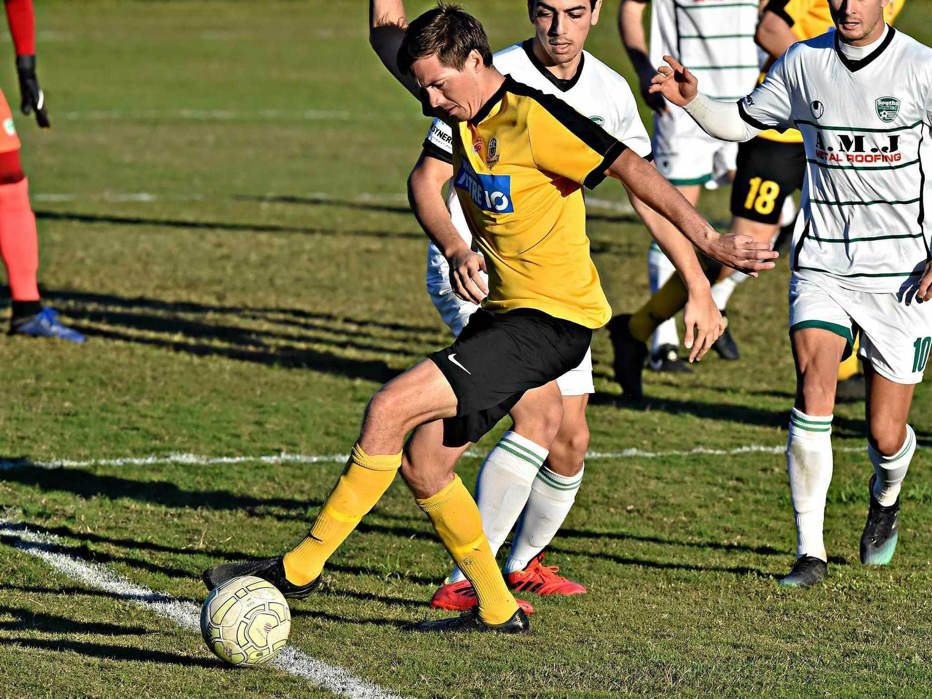 Sunshine Coast Wanderers player Jeremy Stewart on the attack.