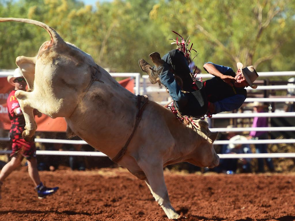 File photo: A bull rider during the 2017 Quamby Rodeo. Picture: Evan Morgan