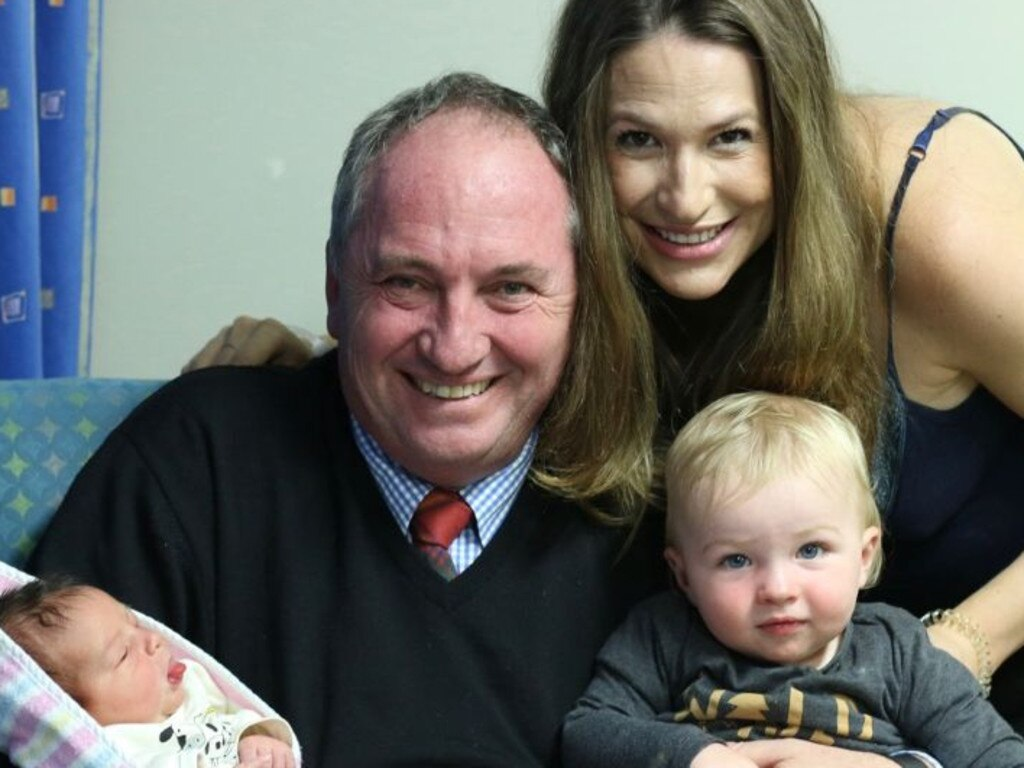 Barnaby Joyce and partner Vikki Campion with their sons Tom (left) and Sebastian.