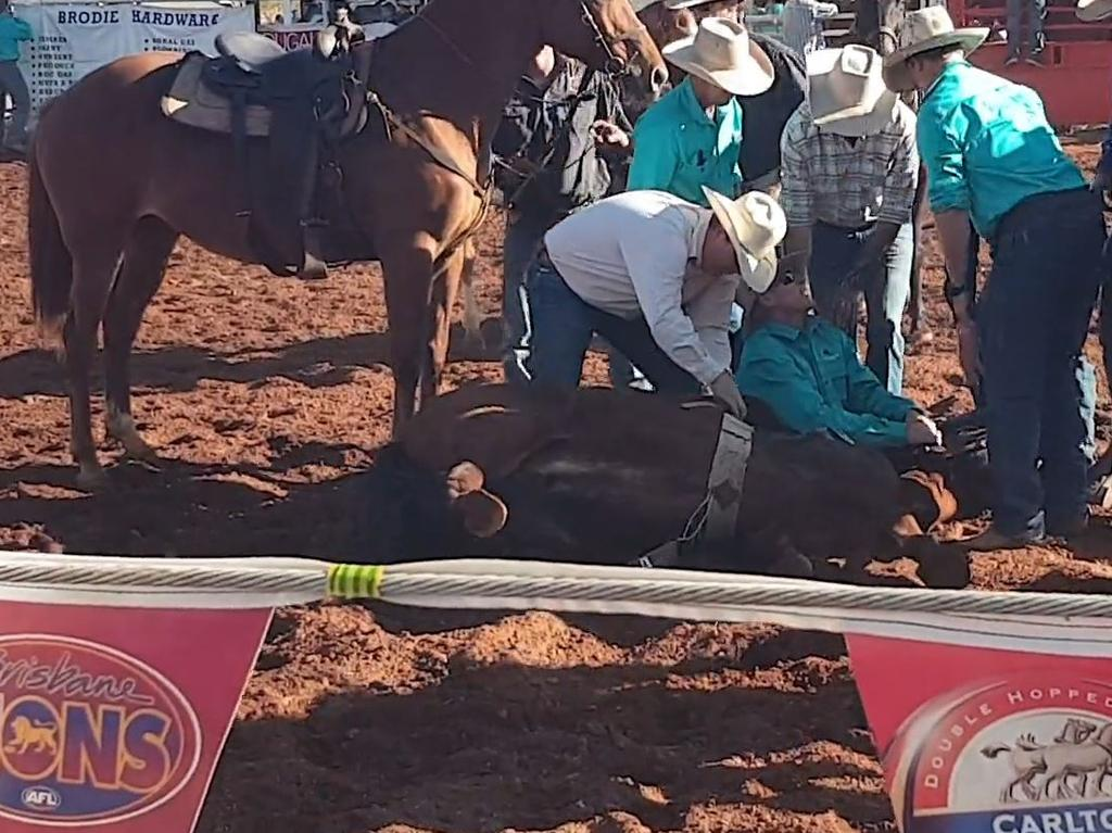 Still from a video taken at the Quamby Rodeo on July 28 showing the moment before a horse was put to sleep after breaking a leg in the area. Picture: Animal Liberation Queensland