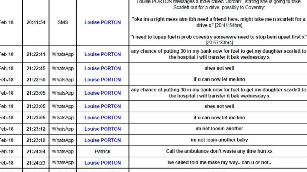 Text messages sent by Porton at the time of Scarlett's death. Picture: CPS